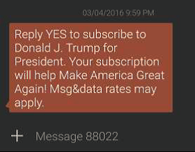 Trump text message